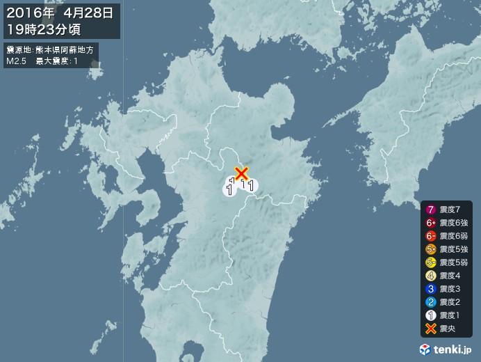 地震情報(2016年04月28日19時23分発生)