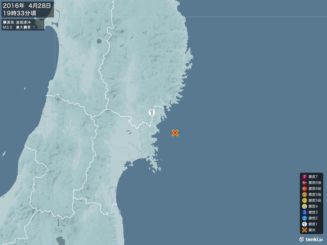 地震情報 2016年04月28日 19時33分頃発生 最大震度:1 震源地:宮城県沖(拡大画像)