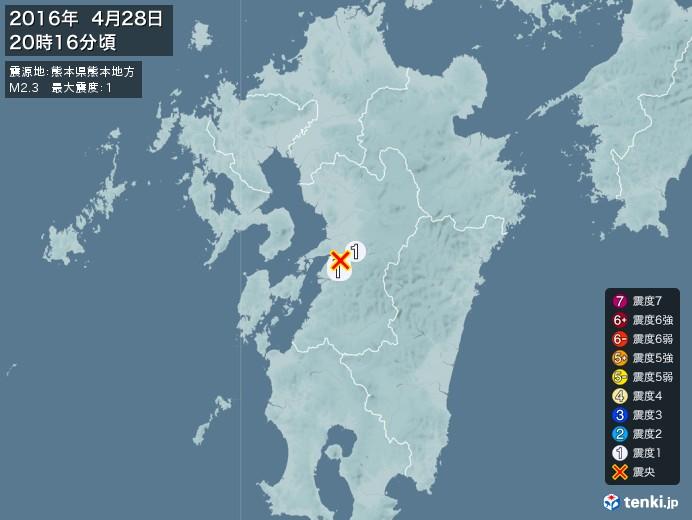 地震情報(2016年04月28日20時16分発生)