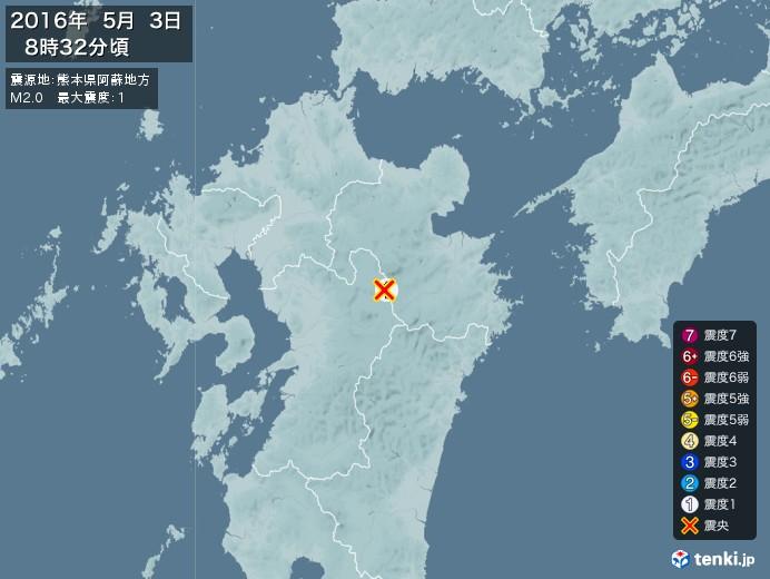 地震情報(2016年05月03日08時32分発生)