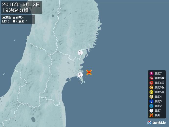 地震情報(2016年05月03日19時54分発生)