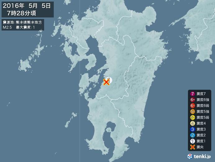 地震情報(2016年05月05日07時28分発生)