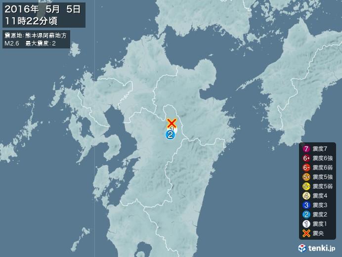 地震情報(2016年05月05日11時22分発生)