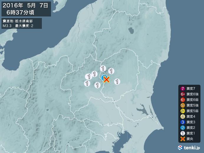 地震情報(2016年05月07日06時37分発生)