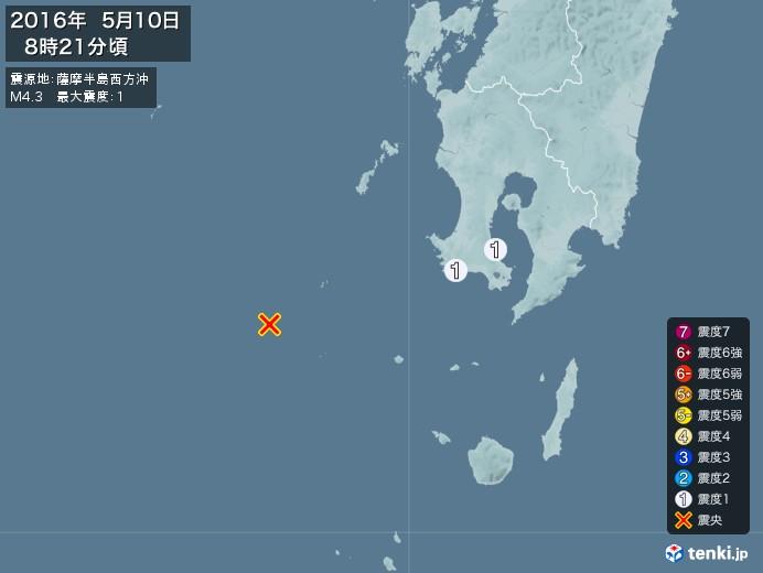 地震情報(2016年05月10日08時21分発生)