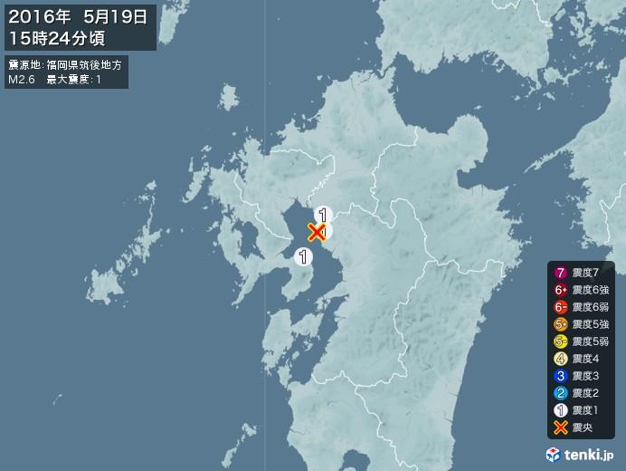 地震情報(2016年05月19日15時24分発生)