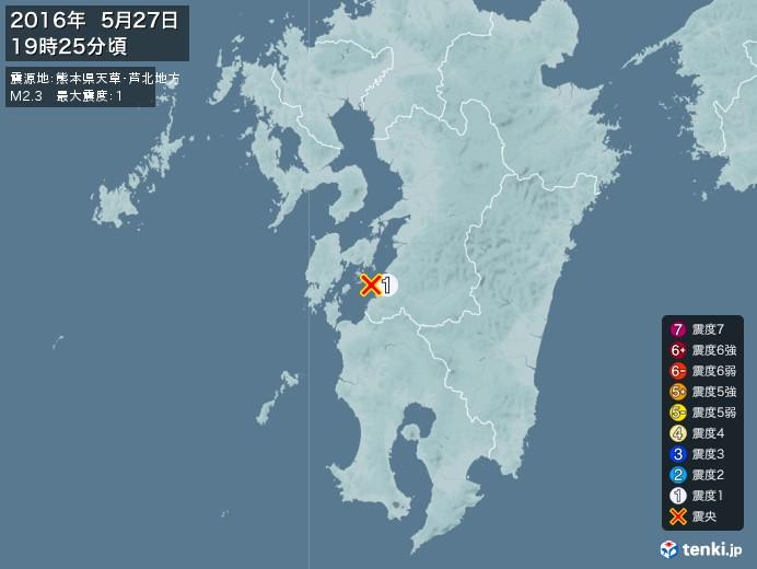 地震情報(2016年05月27日19時25分発生)