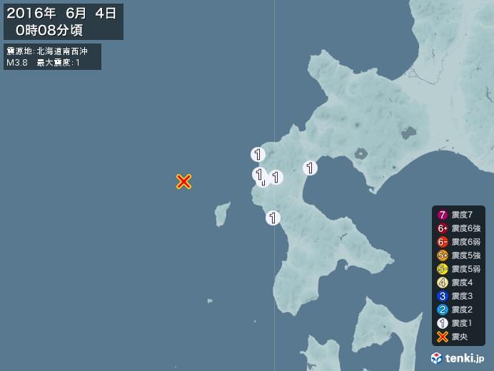地震情報(2016年06月04日00時08分発生)