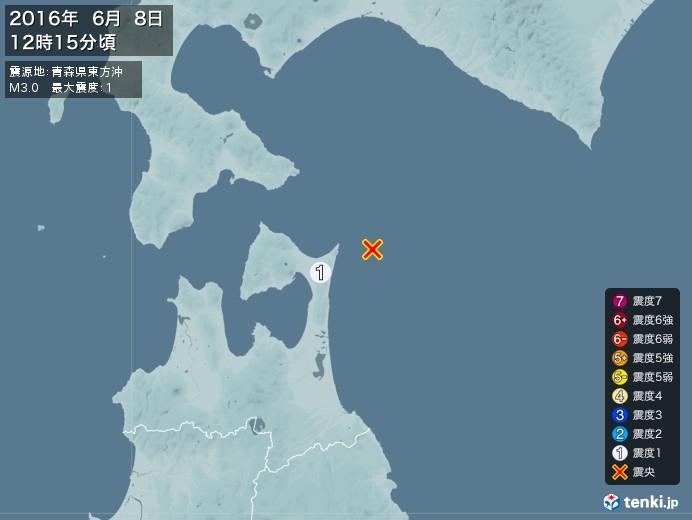 地震情報(2016年06月08日12時15分発生)