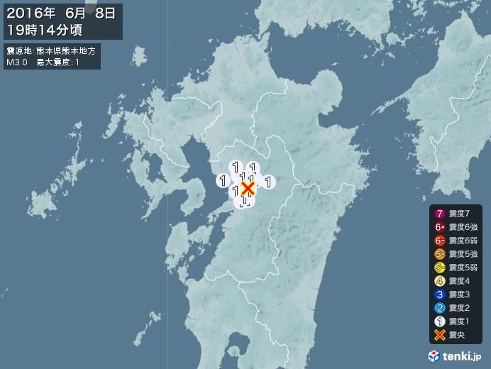 地震情報(2016年06月08日19時14分発生)