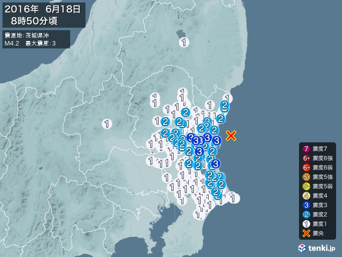 地震情報(2016年06月18日08時50分発生)