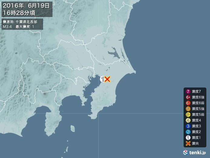 地震情報(2016年06月19日16時28分発生)