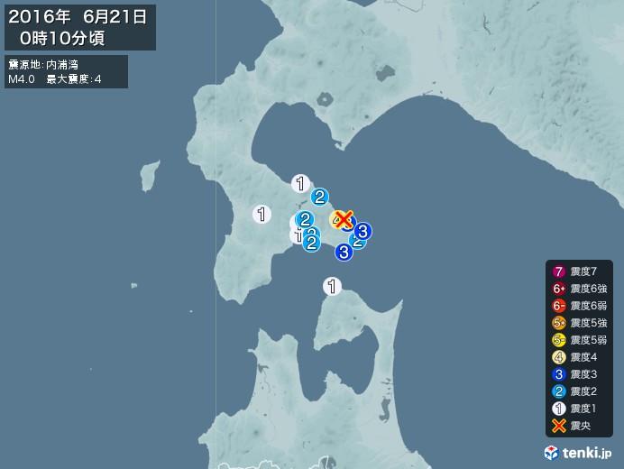 地震情報(2016年06月21日00時10分発生)