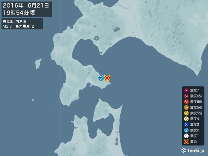 地震情報(2016年06月21日19時54分発生)
