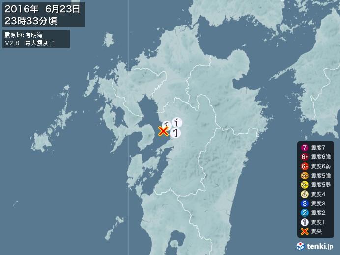 地震情報(2016年06月23日23時33分発生)