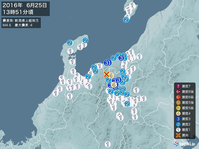 地震情報(2016年06月25日13時51分発生)