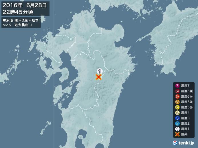 地震情報(2016年06月28日22時45分発生)