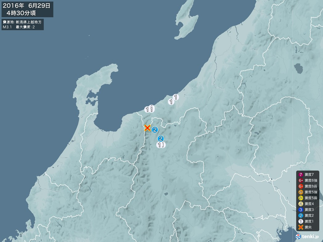地震情報 2016年06月29日 04時30分頃発生 最大震度:2 震源地:新潟県上越地方(拡大画像)