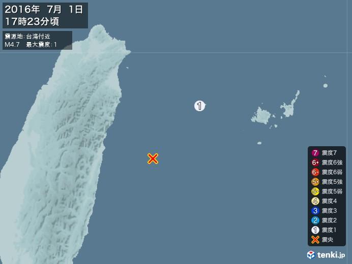 地震情報(2016年07月01日17時23分発生)