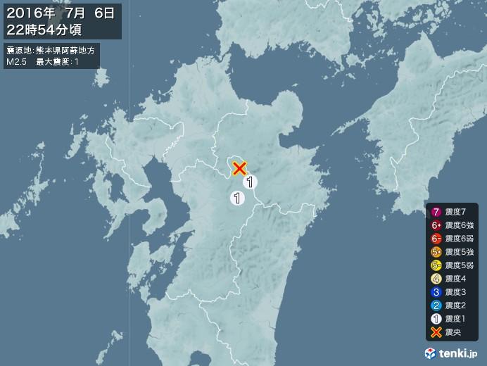 地震情報(2016年07月06日22時54分発生)