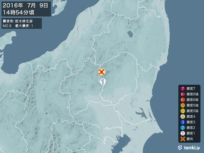 地震情報(2016年07月09日14時54分発生)
