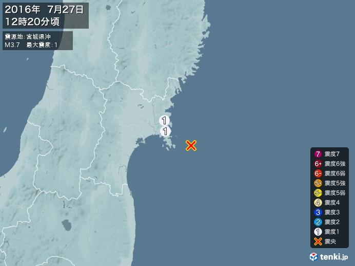 地震情報(2016年07月27日12時20分発生)