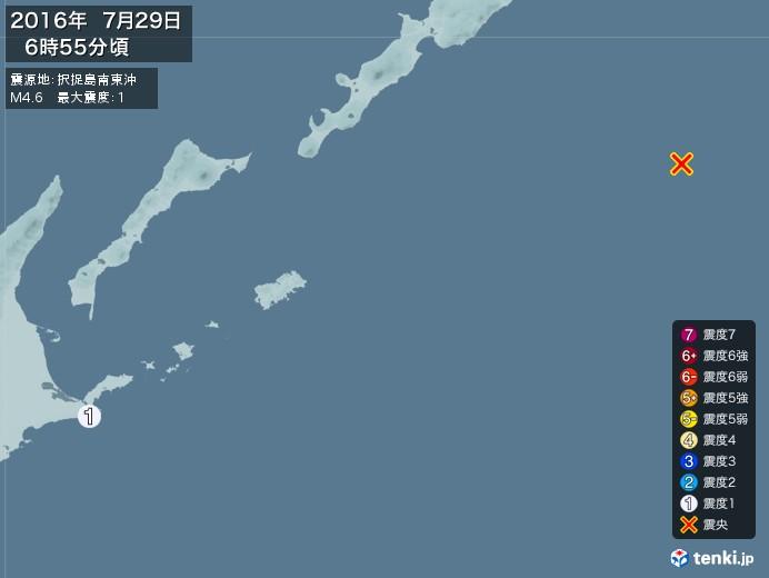 地震情報(2016年07月29日06時55分発生)