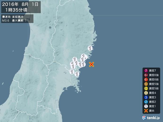 地震情報(2016年08月01日01時35分発生)