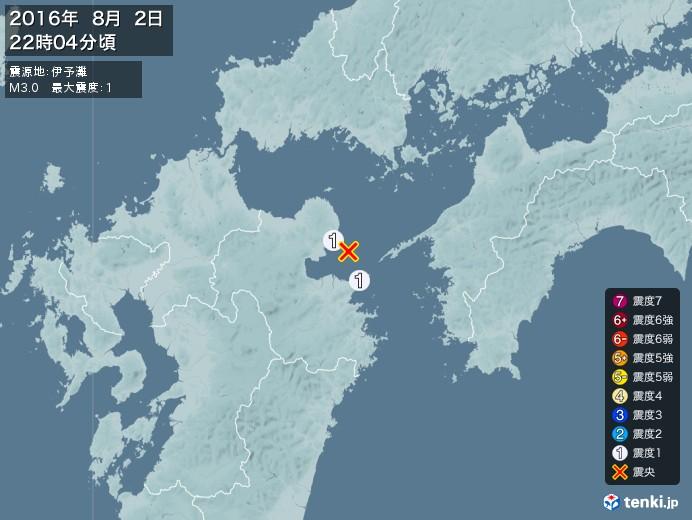 地震情報(2016年08月02日22時04分発生)