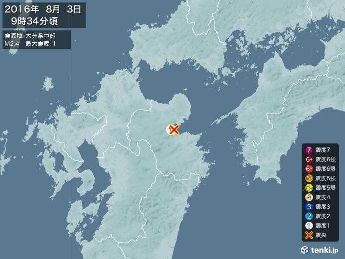 地震情報(2016年08月03日09時34分発生)