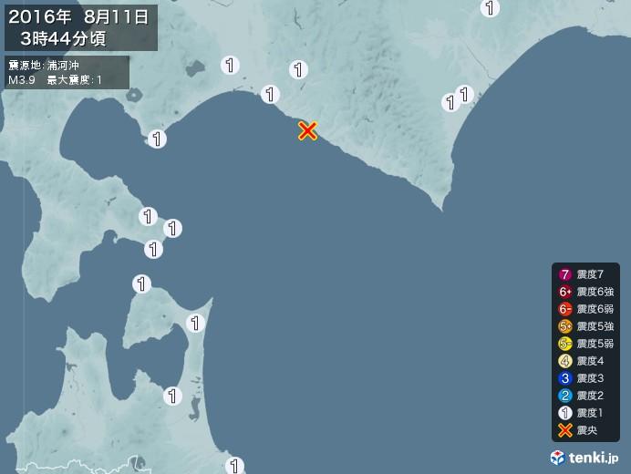 地震情報(2016年08月11日03時44分発生)