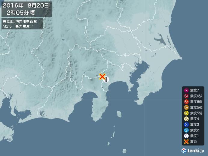 地震情報(2016年08月20日02時05分発生)