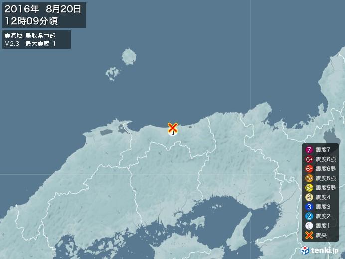 地震情報(2016年08月20日12時09分発生)