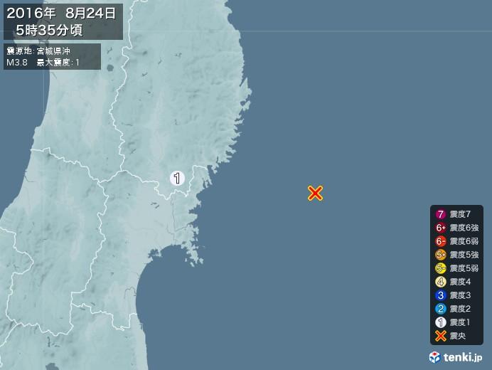 地震情報(2016年08月24日05時35分発生)