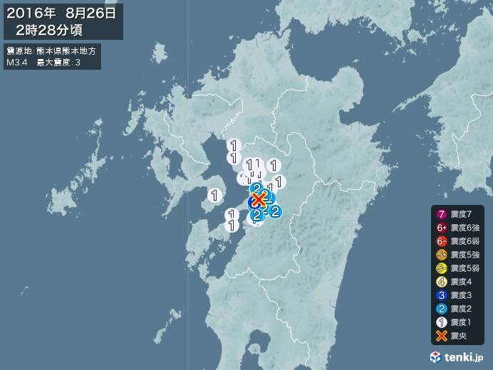 地震情報(2016年08月26日02時28分発生)