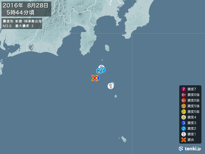 地震情報(2016年08月28日05時44分発生)