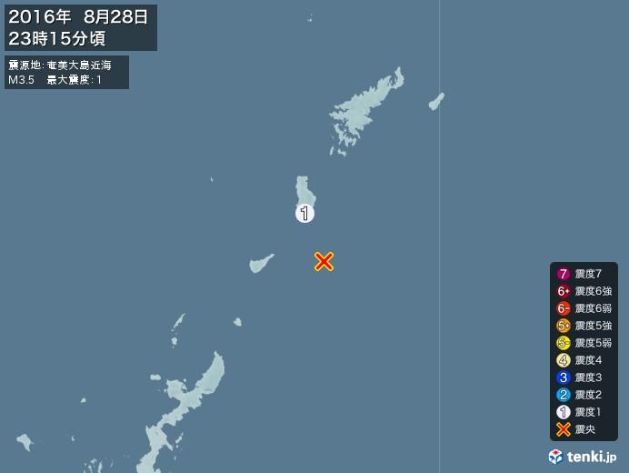 地震情報(2016年08月28日23時15分発生)