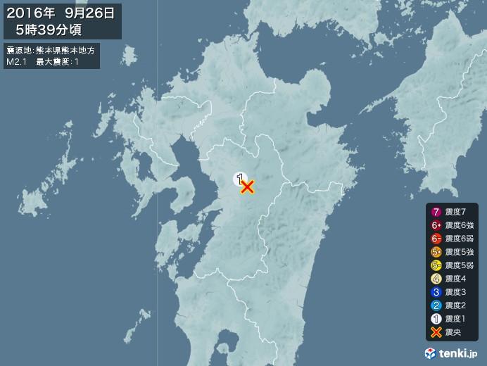 地震情報(2016年09月26日05時39分発生)