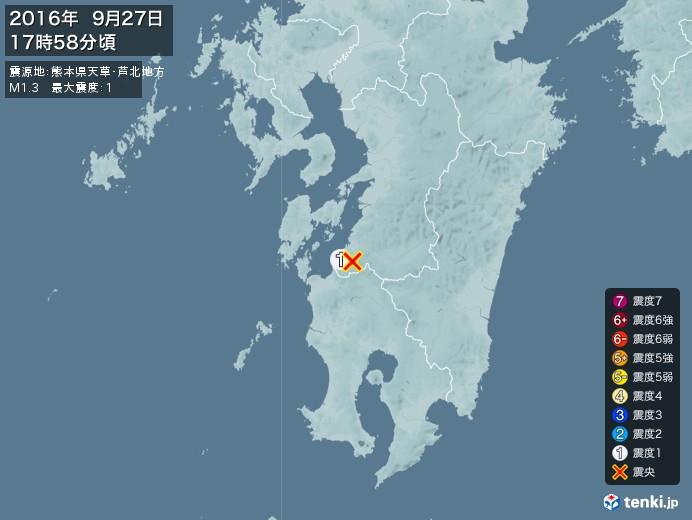 地震情報(2016年09月27日17時58分発生)
