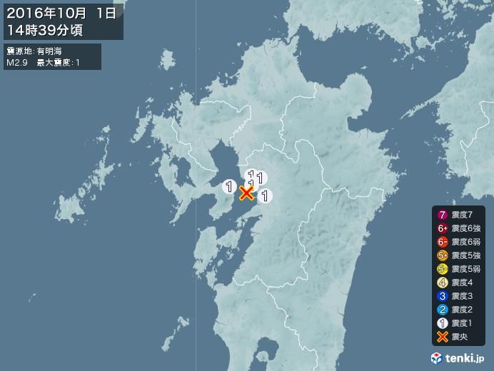 地震情報(2016年10月01日14時39分発生)
