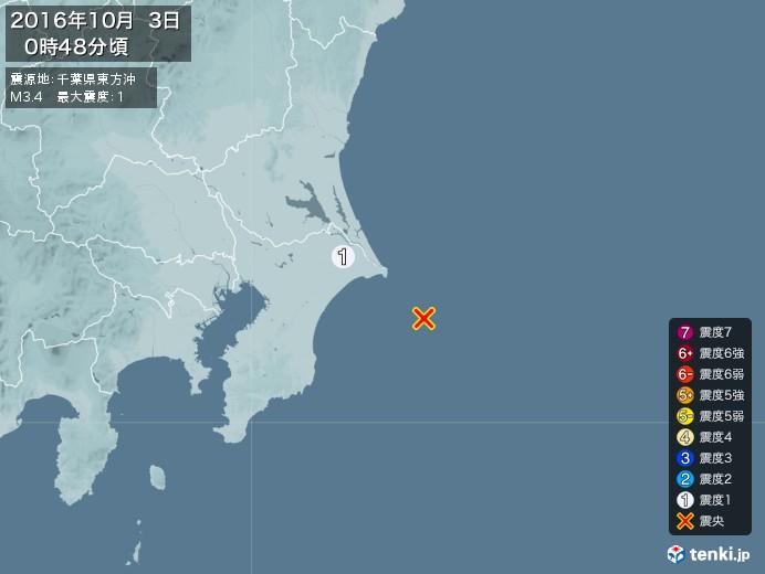 地震情報(2016年10月03日00時48分発生)