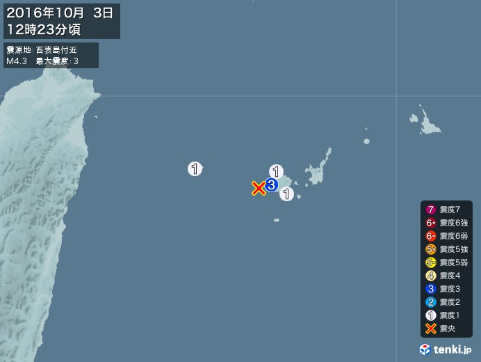 地震情報(2016年10月03日12時23分発生)