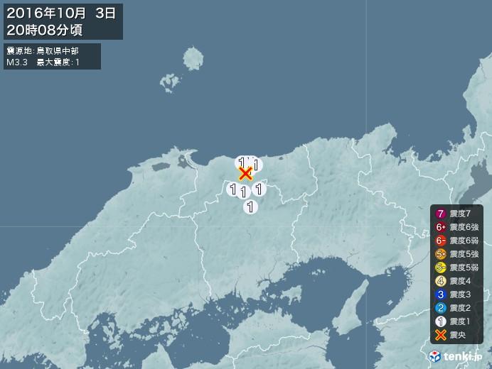 地震情報(2016年10月03日20時08分発生)
