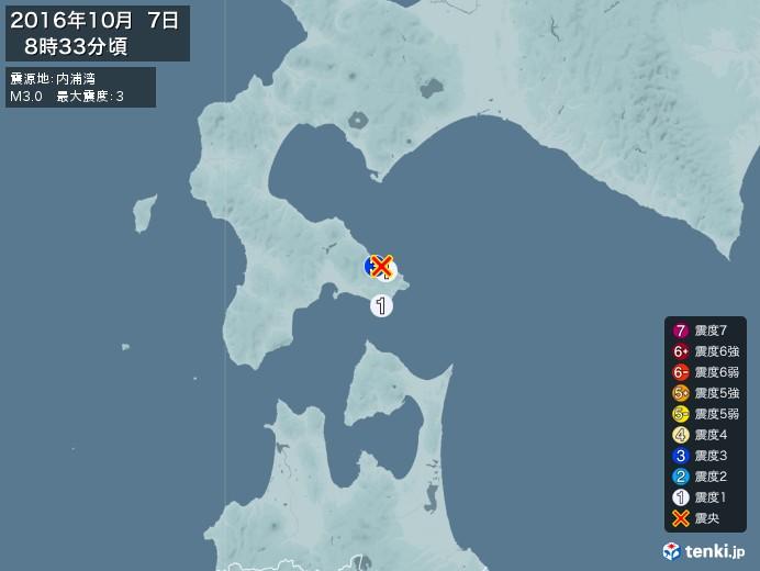 地震情報(2016年10月07日08時33分発生)