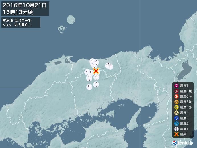 地震情報(2016年10月21日15時13分発生)