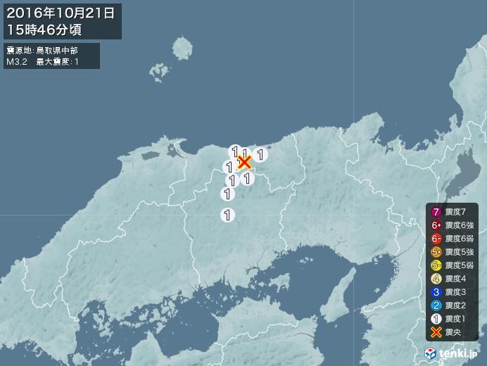 地震情報(2016年10月21日15時46分発生)