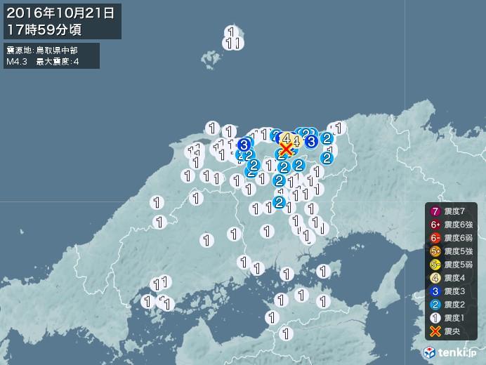 地震情報(2016年10月21日17時59分発生)