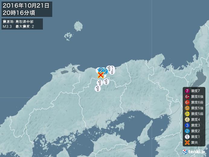地震情報(2016年10月21日20時16分発生)
