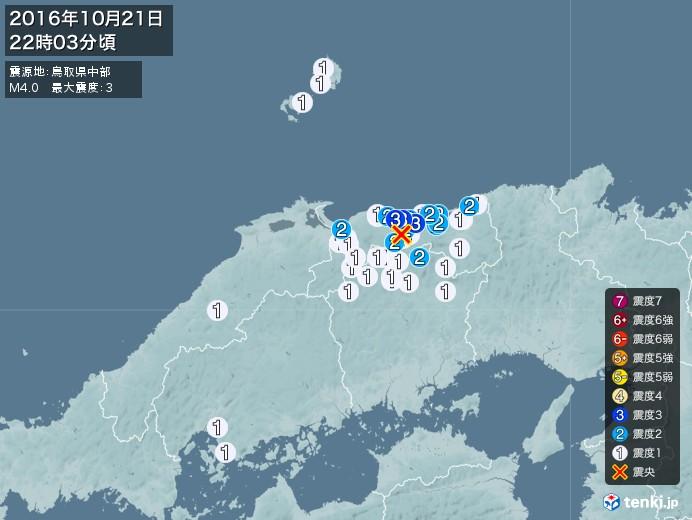 地震情報(2016年10月21日22時03分発生)