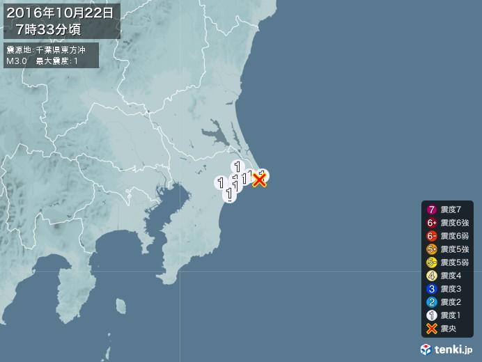 地震情報(2016年10月22日07時33分発生)